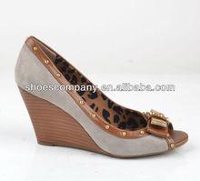 2014 latest fashion peep toe ladies wedge women high heel shoes