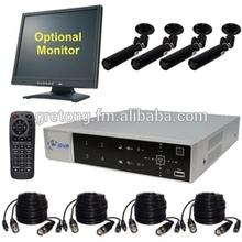 Home Security Camera System, 4 Color Bullet CCTV Cameras, Remote View
