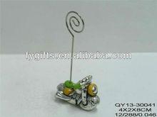 Polyresin smart name card holders, baby favor item, men's motorcycle clip holders