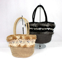 2014 winter cute knit bag with stone, pearl and fur fabric for girls