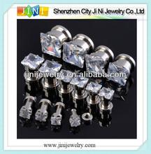 clear rhinestone screw on tunnel plug