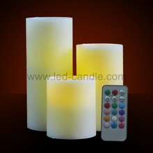 Remote Control Candles 3pcs set with RGB LED light and Timer, flameless, flickering, battery operated
