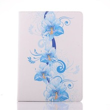 New Design fancy leather case for ipad air, blue flower stand case for ipad 5