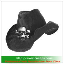 lemmy cowboy hat with skull decor