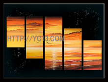 New Best Price For Beautiful Decoration 100%handmade modern 5 panelunrestrained and far-ranging oil painting