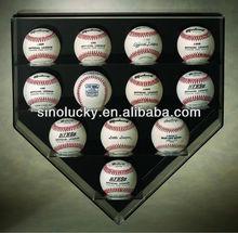 acrylic 12 base ball home plate wall mount display case / High quality acylic baseball cubes