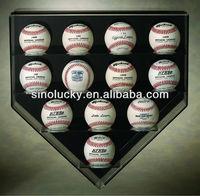 ACRYLIC 12 BASEBALL HOME PLATE WALL MOUNT DISPLAY CASE / High quality acylic baseball cubes