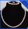 2014 spring classic AA 7-8 mm pink button set pearl jewelry