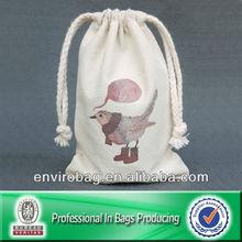 Customized Organic Cotton Drawstring Mini Money Bag