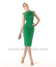 2014 Short Mermaid High Neckline Chiffon Green Formal Evening Gown Vestidos De Noche