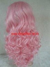 popular pink high temperature synthethic fiber machine make wig