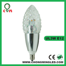 high power dimmable led candelabra bulb e12 220v cool white with ce rohs marked