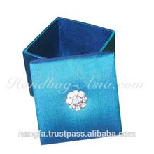 Royal blue Thai silk box for wedding favor + gift by silk box factory