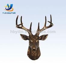 Bronze Deer Head Wall Decor Sculpture Brass Elk Head Statue