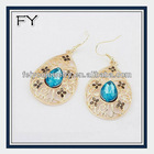 Hot sales America hollow teardrop alloy jewelry, gorgeous crystal earring