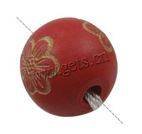 round hand carved wood beads