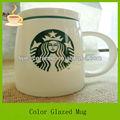 14oz new bone china tasses à café en céramique starbuck/tasses avec couvercle en silicone