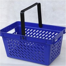 supermarket colorful hand held shopping basket for sale 24L with size 445*280*250mm