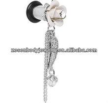 2 Gauge Clear Gem Rose Angel Wing Dangle ear Plug jewelry