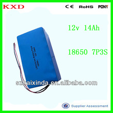 KXD rechargeable lithium ion battery 12v 14000mah with 2wires