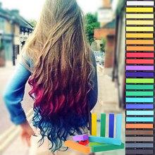 24 de colores de moda no- tóxico temporal del tinte del pelo de tiza suave de bricolaje para el cabello de color pastel