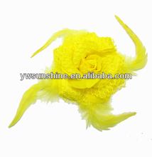 Yellow chiffon fabric rose flower brooch customize artifical flower