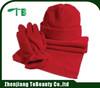 red flleece scarf glove hat set