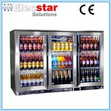 Elecstar LG series 3 glass door big capacity display back bar cooler/stainless steel refrigerator/beer chiller/alcohol fridge