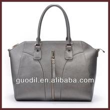 New brand name fashion ladies genuine leather handbag, sliver color