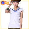 korea Blue and white porcelain fair maiden collar T-shirt