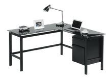 I-shaped Black Glass Office Computer PC Desk