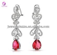 Ruby Color Pear CZ Bridal Heart Fertility Chandelier Earrings