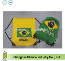 National Day Gifts Promotion-- Brasil Flag--Drawstring Sports Events Sponsor Giveaway Back Pack Bag