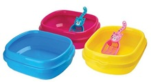 Plastic crystal cat litter tray with scoop cat litter box cat product