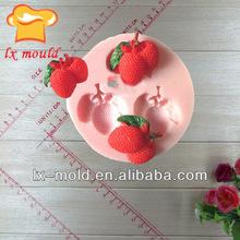 3 cavities mini cherry fruit silicone baking molds