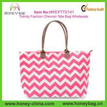 2014 Trendy Fashion Pink Zig Zag Canvas Chevron Tote Bag Wholesale