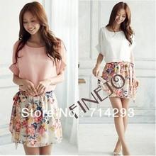 New dress summer casual Women's Charming Crewneck Chiffon Short Sleeve Floral Dress plus size 14510