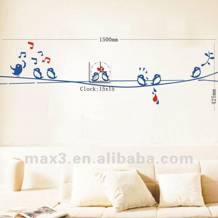 Behang grappige vogel zingen vinyl sticker diy wandklok voor huisdecoratie muur klokken product - Afbeelding van huisdecoratie ...