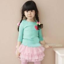 Children's clothing color bar girls spring& summer Korean petal edges Lovely love heart pure cotton princess T-shirt