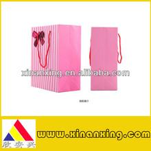 custom pink stripe art paper bags
