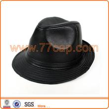 Black Pu Leather Fedora Hat
