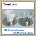 Mini-glas/Keramik becher mit metallgriff/unten mit Untertasse
