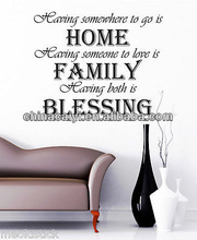 HOME.FAMILY.BLESSING. Wall Quotes,Removable Vinyl Wall Stickers,Home Decor S12