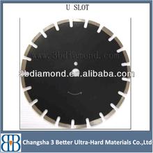 Durable U slots diamond saw blades for cutting asphalt and green concrete| laser welded diamond saw blades