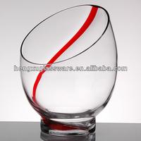 decorative slanted clear glass vase,clear glass jar