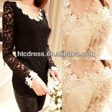 8966 frees shipping 2014 spring new style white/beige lace top long sleeves blouse women M L XL Wholesale/retail