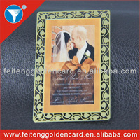 High quality golden printing/logo etching/engraving personalized metal cards for wedding invitation