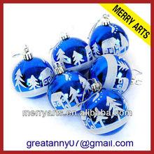 futian market yiwu hot selling blue plastic delicate printable christmas ball ornaments