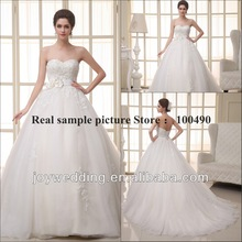 Real sample picture Stunning Removable belt with flowers A-line wedding dresses Cathedral Royal train Backless bridal gowns