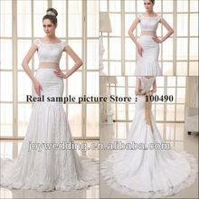 Diamond white Lace mermaid wedding dress champagne golden taffeta sashes short Cap Sleeves Chantilly lace bride dresses 2014